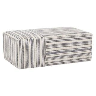 Boho Chic Quinn Blue Stripe Cotton Ottoman For Sale