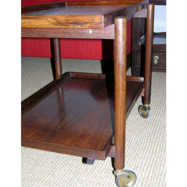 Poul Hundevad Danish Rosewood Serving Trolley For Sale - Image 9 of 9