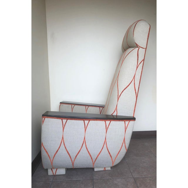 Mid-Century Modern Decorative Modern Tall Back Armchair For Sale - Image 3 of 9