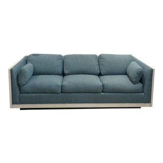 Milo Baughman Sofa Newly Upholstered Blue Fabric W/ New White Lacquer For Sale