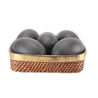 Hand-Blown Emu Eggs in Brass and Woven Basket For Sale
