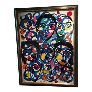 "Peter Keil Canvas Colorful Painting ""Paris People"" For Sale"