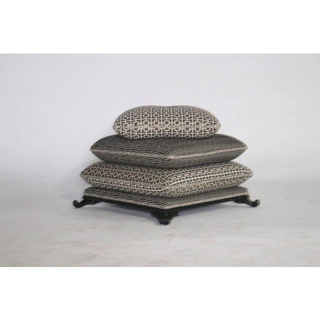 Hollywood Regency Stacked Pillow Pouf or Ottoman For Sale - Image 3 of 8