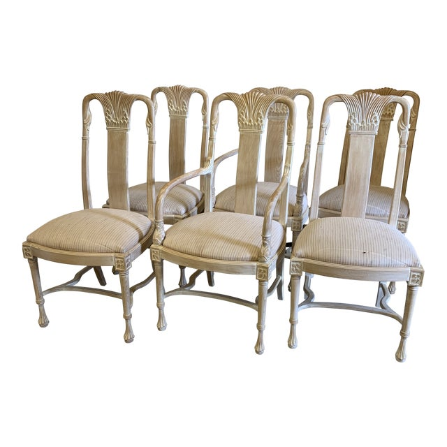 Bleached Wood Hand Carved Dining Chair's-A Set of 6 For Sale