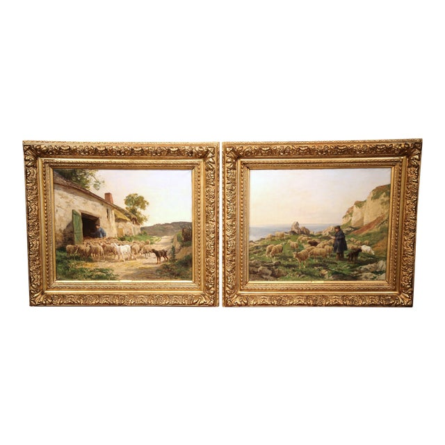 19th Century French Sheep Paintings in Gilt Frames Signed C. Quinton - a Pair For Sale
