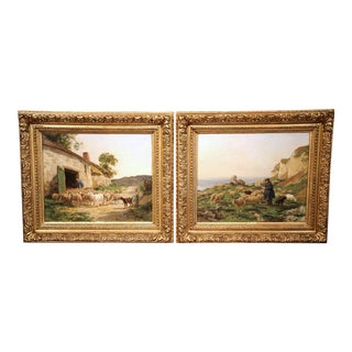 Pair of 19th Century French Sheep Paintings in Gilt Frames Signed C. Quinton