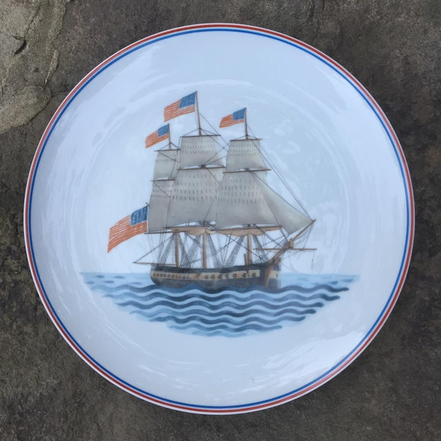 Mottahedeh Clipper Ship Maritime Museum Plate Measures 9.25 x 9.25 x .75