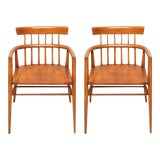 Image of 1960s Paul McCobb Armed Wood Dining Chairs - a Pair For Sale