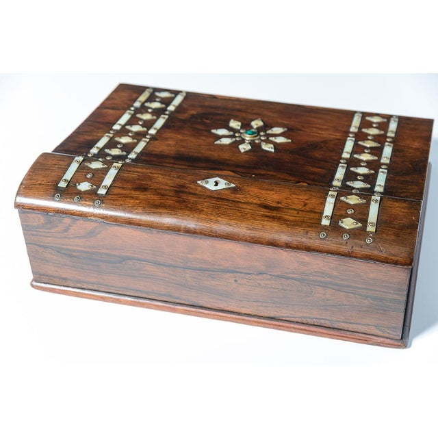 Mid 19th Century Vintage Rosewood & Mother Pearl Writing Slope Box For Sale - Image 4 of 10