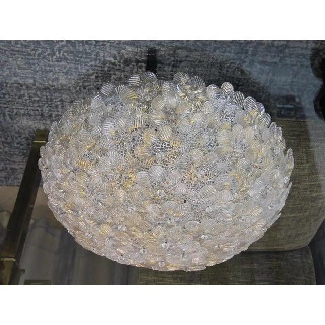 1970s Floral Murano Glass & Brass Flush Mount For Sale - Image 5 of 13