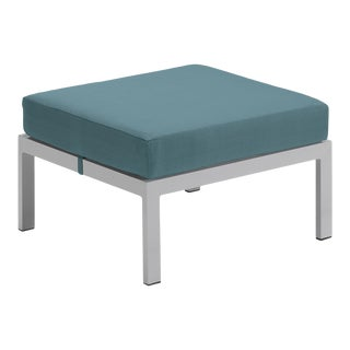 Cushion Outdoor Ottoman, Blue For Sale