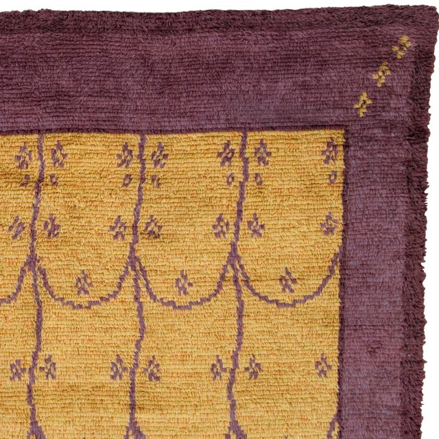 Mid-Century Modern Mid 20th Century Swedish Handwoven Pile Rug- 9′7″ × 11′10″ For Sale - Image 3 of 6