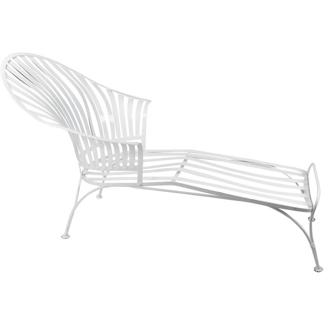 Francois Carre Vintage Fan Back Patio Chaise Lounge For Sale - Image 11 of 11