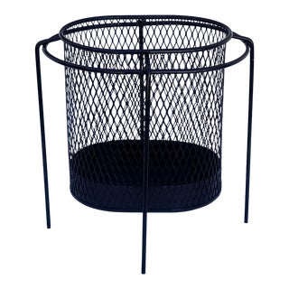 1950s Vintage Maurice Duchin Black Painted Iron Waste Basket For Sale