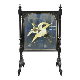 19th Century Antique Victorian Carved Fire Screen With Silk Embroidered Crane Panel For Sale