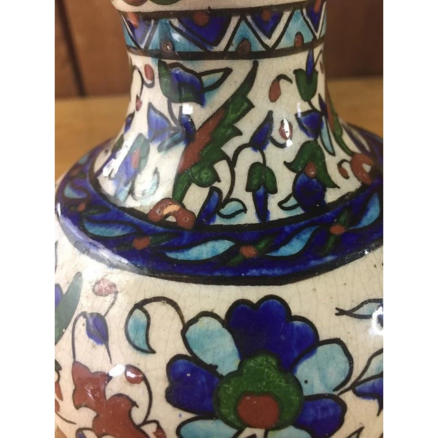Middle Eastern Hand-Painted Glazed Pottery For Sale - Image 9 of 11