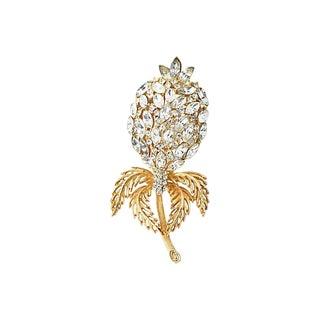 Large Crystal Gold Flower Brooch For Sale