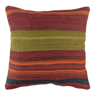 "Chromatic Stripe Vintage Kilim Pillow | 20"" For Sale"