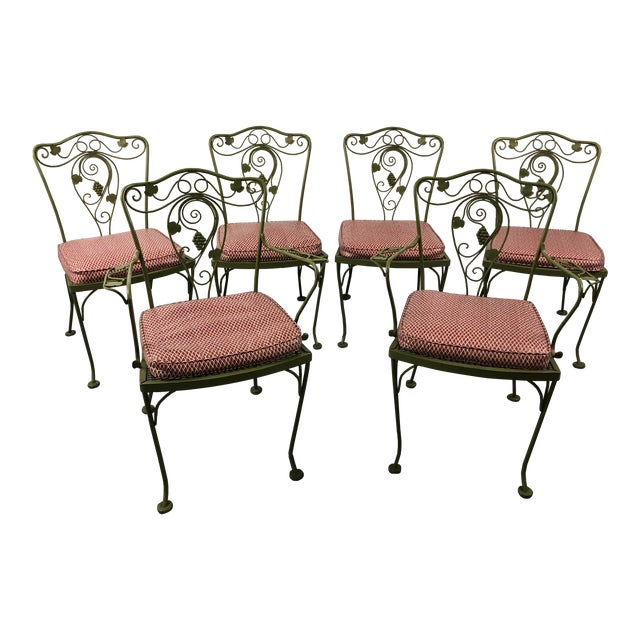 Vintage Woodard Style Wrought Iron Patio Chairs - Set of 6 For Sale