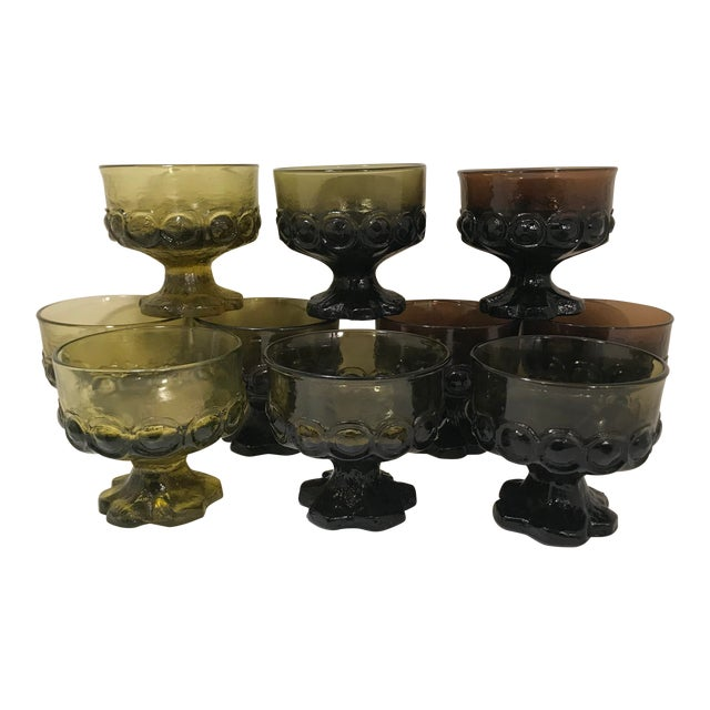1960s Mid-Century Modern Tiffian Franciscan Madeira Multi Color Glass Dessert Cups - Set of 9 For Sale