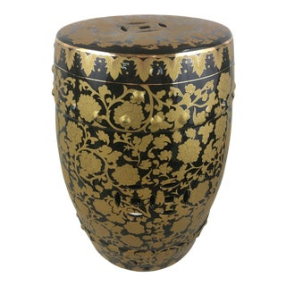 Vintage Black and Gold Ceramic Garden Seat For Sale