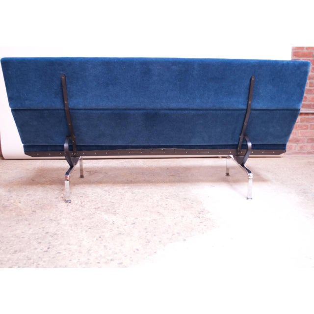 Metal Charles and Ray Eames for Herman Miller Chromed-Steel and Mohair Compact Sofa For Sale - Image 7 of 13