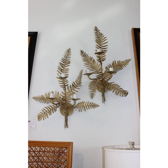Mid-Century Sconces Fern Motif - a Set of 2 For Sale - Image 4 of 13