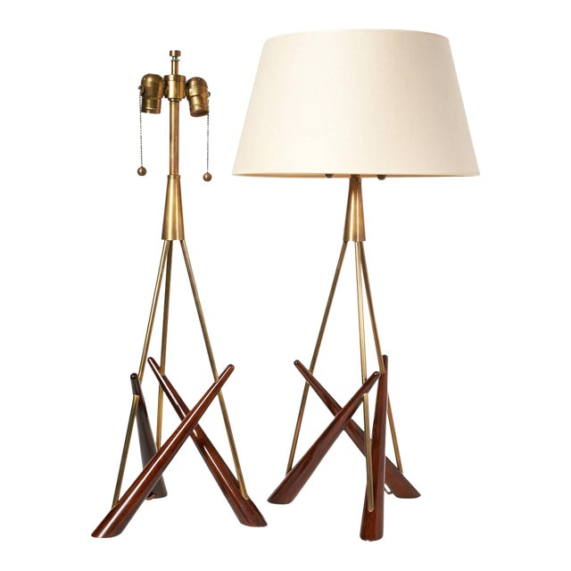 Pair of 'Constructivist' Walnut and Brass Tripod Table Lamps For Sale