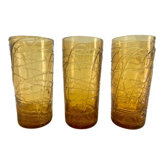 Mid Century Modern Amber Glass Tumblers- Set of 3 For Sale
