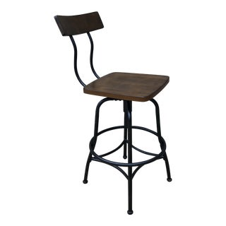 Industrial Wood and Metal Bar Stool For Sale