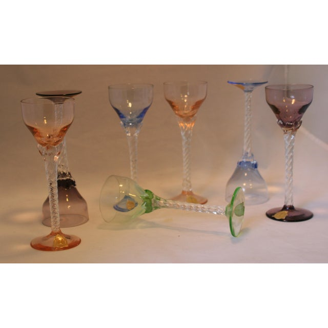 Set of 7 Blefeld Hand Crafted Crystal Multi Color Stemmed Cocktail Cordial Glasses For Sale In West Palm - Image 6 of 7