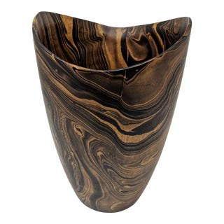 Americana Hand Carved Wooden Vase For Sale