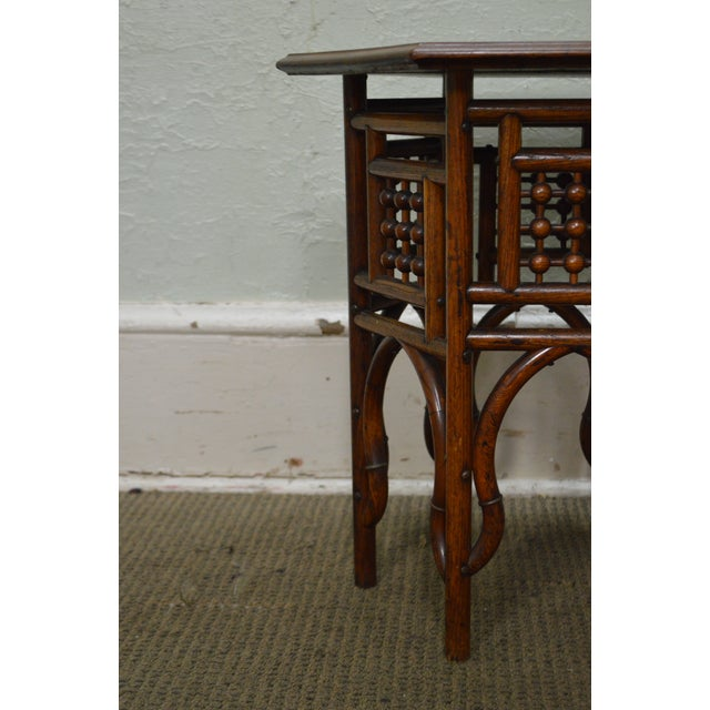 Antique Oak Stick & Ball Hexagon Taboret Plant Stand For Sale - Image 9 of 11