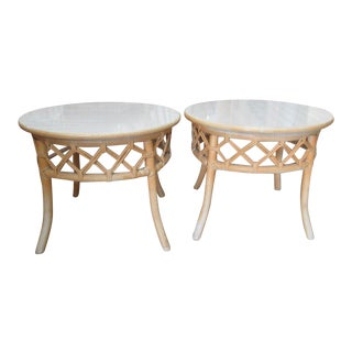Ficks Reed Round Side Tables - a Pair