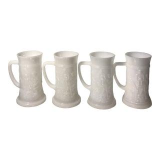 Vintage Federal Milk Glass Steins - Set of 4 For Sale