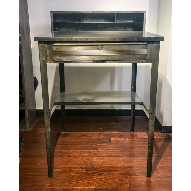 1970s Industrial Metal Shipping and Receiving Desk For Sale - Image 4 of 8