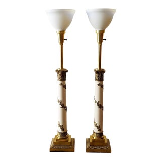 1960s Stiffel Neoclassical Brass and Ivory Table Lamps - a Pair For Sale