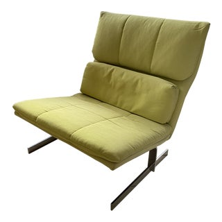 1970s Baker Lounge Chair in Chrome and Mod Yellow For Sale