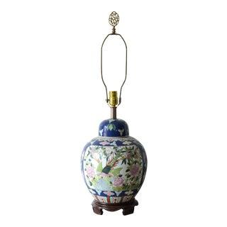 Chinoiserie Porcelain Ginger Jar Lamp For Sale