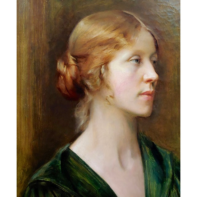Arthur Hacker 1918 Portrait of a Sophisticated Red Haired Lady - Oil Painting For Sale - Image 4 of 11