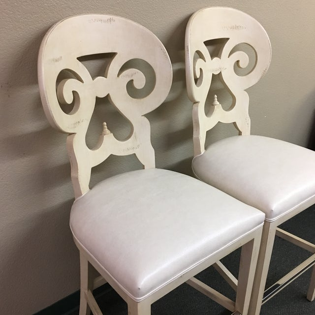 Biedermeier Style Counter Height Distressed White Barstools - A Pair - Image 3 of 11