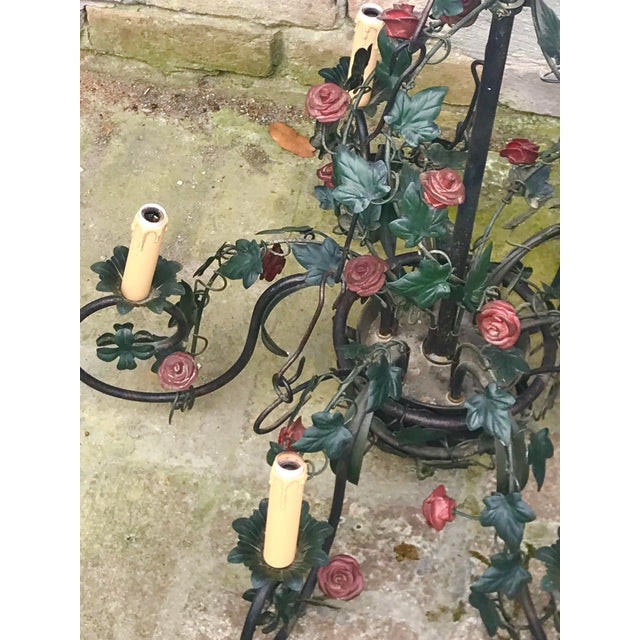 1940s Vintage Tole Rose & Ivy Six Arm Chandelier For Sale - Image 5 of 11