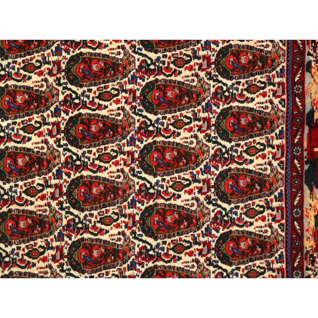 1980s Persian Seneh Hand-Knotted Rug - 4′2″ × 4′11″ For Sale - Image 4 of 5