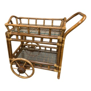 Boho Chic Rattan Rolling Cart W Detachable Service Tray For Sale