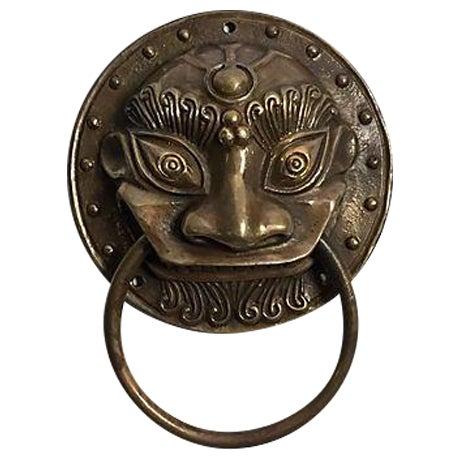 Brass Foo Dog Door Knocker - Image 1 of 5