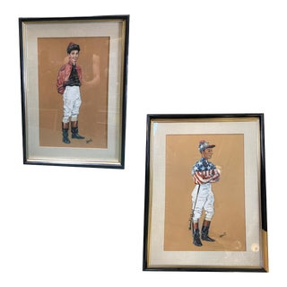 1950s Pastel on Paper Horse Racing Jockey by Hagulaton - a Pair For Sale