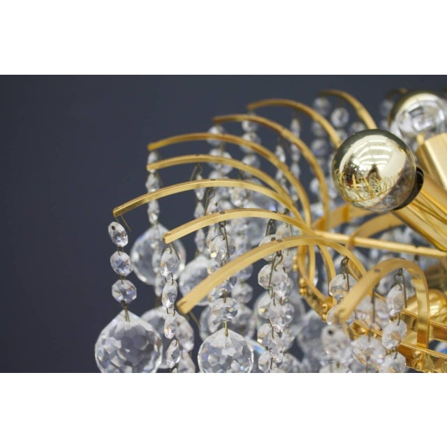 Christoph Palme Chandelier Gilded Brass and Crystal Glass For Sale - Image 6 of 13