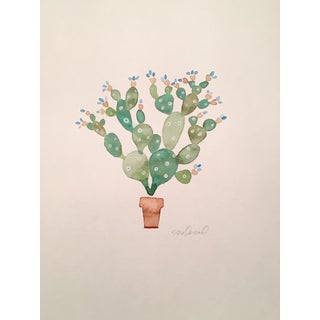 Contemporary Original Cactus Watercolor Painting For Sale