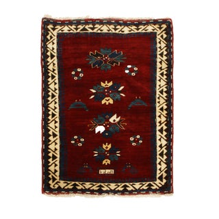 Late 19th Century Antique Kazak Red and Royal Blue Wool Rug- 2′7″ × 3′5″ For Sale