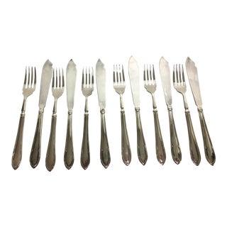 Vintage English Fruit/Desert Knives & Forks - Set of 12 For Sale